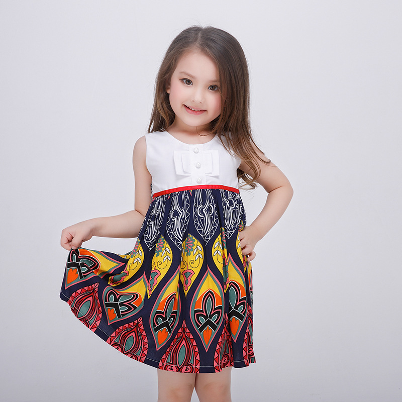 2017 Cotton Girls Dresses Summer Baby Frock Designs Dress Princess Milan Creations 2-8 9 10 13 14 Year Olds Girl clothes