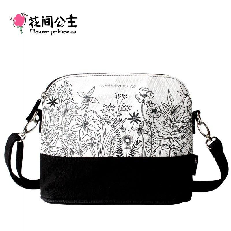 Flower Princess Brand Canvas Women Bag 2017 White Single Shoulder Messenger Bags for Ladies Teenage Girl Small Flap Bags BX006