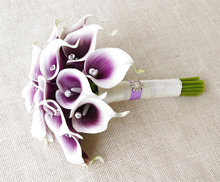 Artificial calla lilies wedding bouquets: purple wedding party flowers