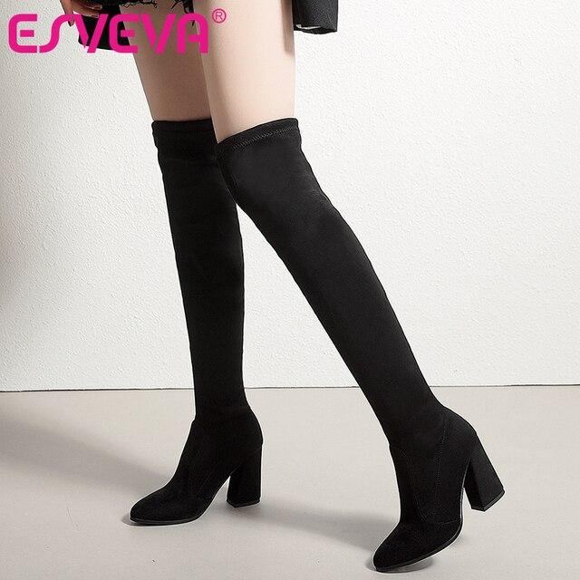 ESVEVA/2019 г. женские сапоги, обувь без шнуровки, Сапоги выше колена, эластичные ткани, острый носок, высокий каблук, женские сапоги, размер 34-43