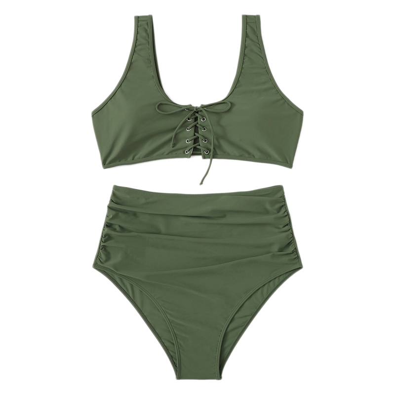 Army Green Plus Size Bikini With Chest Pad 9