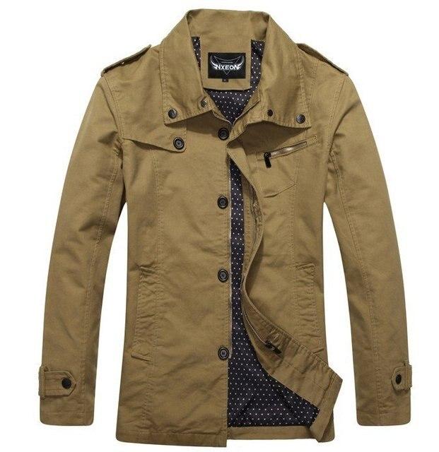 68be8370985 New purified cotton jacket lapel washed male solid color autumn winter coat  XXL khaki black garment for men exquisite work CM010