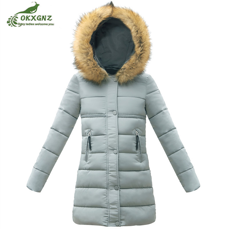 padded Fashion winter women's Cotton-padded jacket 2018medium long warm   Parkas   hooded fur collar thick down cotton coat clothing