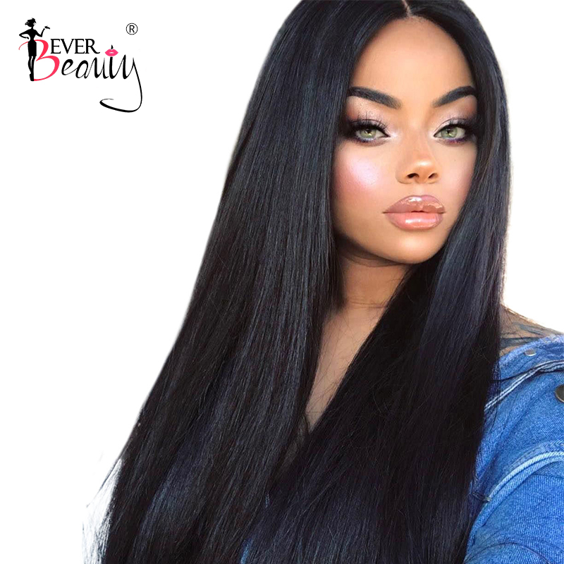 250% Tetthet Lace Front Human Hair Parykker For Women Black Full Glueless Silky Straight Brazilian Lace Front Parykk Ever Beauty Beauty