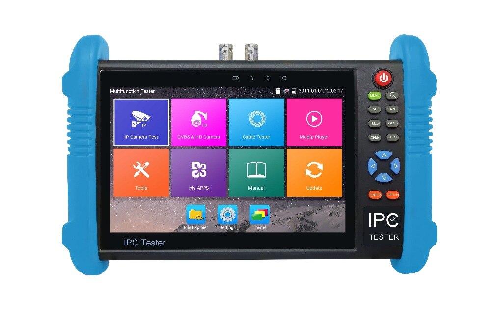 IPC-9800 MOVTADHS plus nouveau 7 pouces IPS écran tactile cctv testeur, 1280*800 résolution avec H.265 & H.264, 4 K affichage via grand public