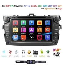 Hizpo Авторадио автомобильный dvd-плеер с двумя цифровыми входами магнитофон для TOYOTA Corolla 2007-2011 BT 3g gps навигатор Аудио ТВ SWC USB Русский Меню OBD