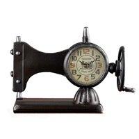 Retro Sewing Machine Alarm Clock Iron Decor Desk Clocks Furnishing Articles Ornament For Birthday Gifts Souvenir Classic Clocks