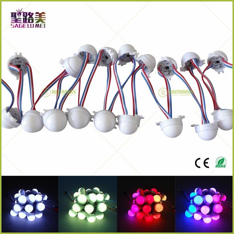 20pcs /Lot DC12V WS2811 30mm Diffused LED Pixel Module Full Color 3LEDs 5050 RGB led lamp string D30 modules IP68 0.72W/PCS
