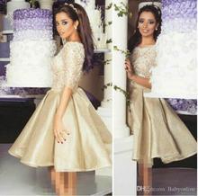 2016 arabisch Halbarm Abendkleid a-linie Satin Kurze Party Abendkleider Cocktailkleid-heimkehr-kleider PD44