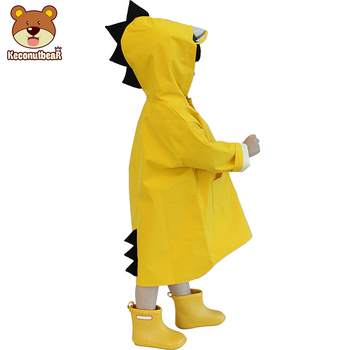 Children Cartoon Yellow Dinosaur Waterproof Polyester Rain Coat Boys Girls Windproof Poncho Kindergarten Student Baby Raincoat цена 2017