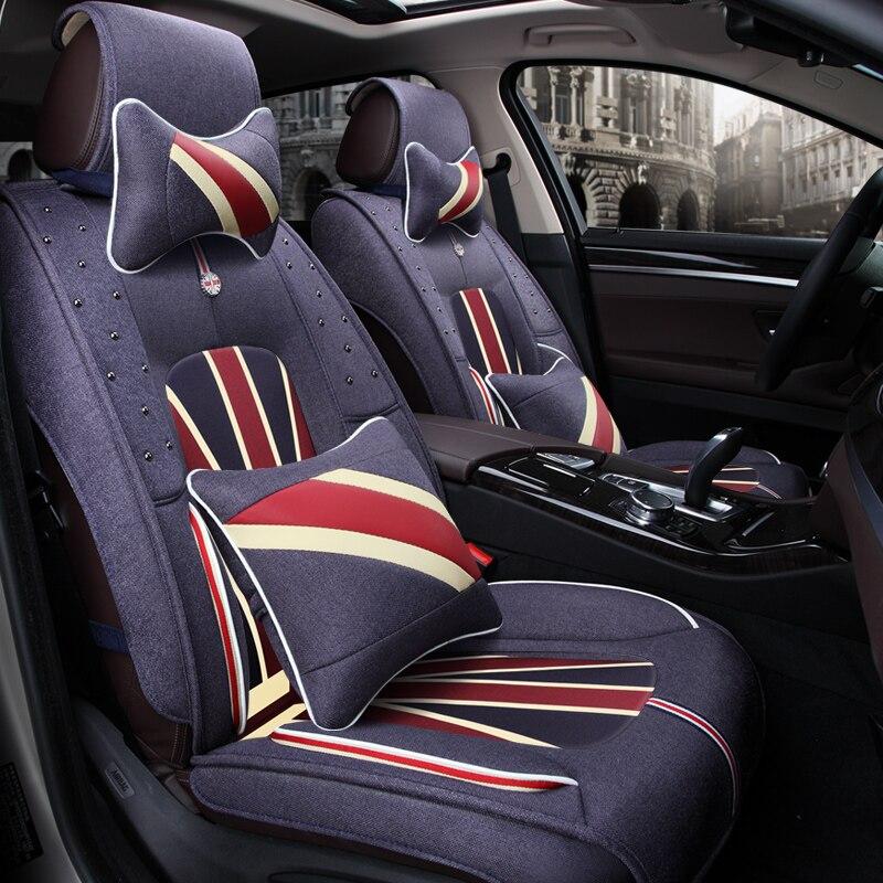 3D Car Seat Cover General Cushion Flax Car Styling For Volkswagen Beetle CC Eos Golf Jetta Passat Tiguan Touareg sharan