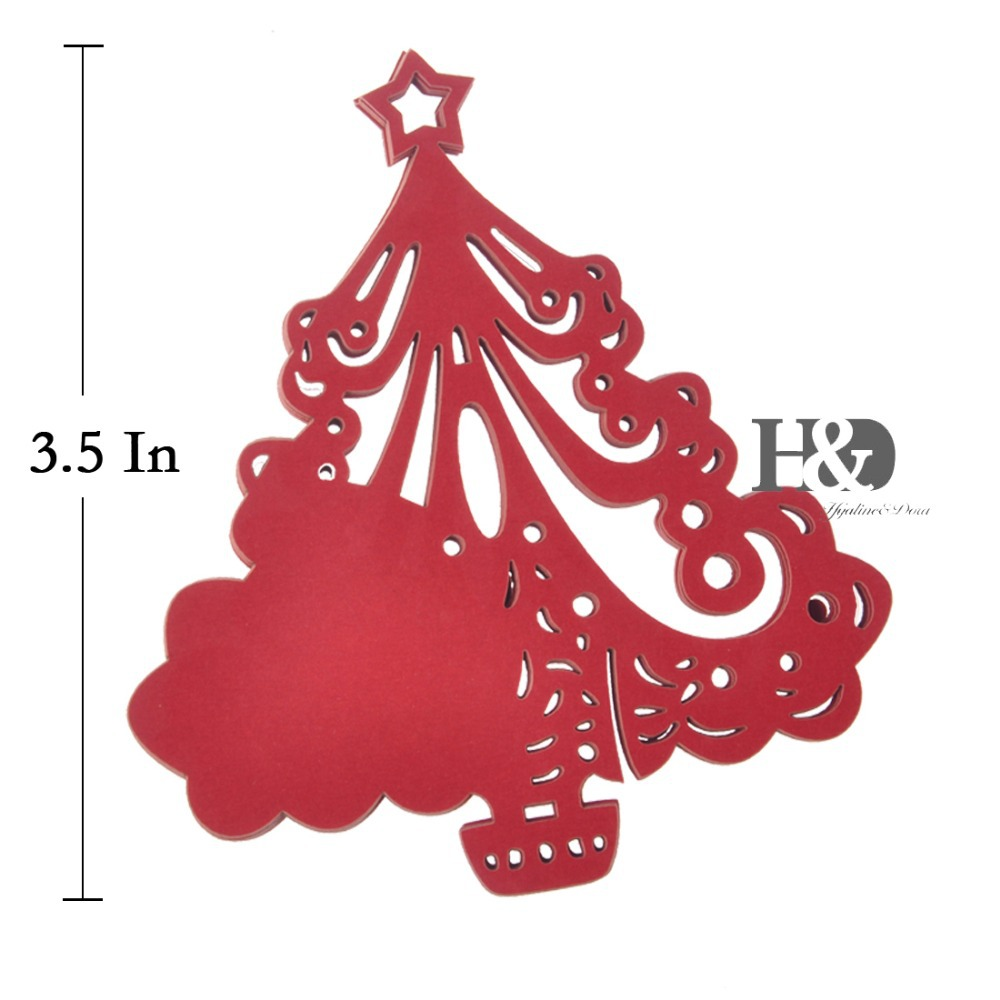 12PCS Laser Cut Christmas Tree Table Place Paper Wine Glass Cards ...