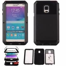 Пыле Водонепроницаемый противоударный алюминиевый Металл Жесткий чехол для Samsung Galaxy Note 4 с Gorilla закала