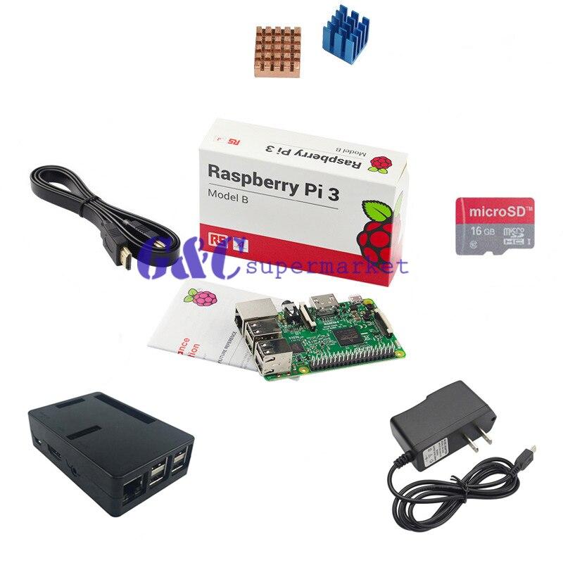 Pour Raspberry Pi 3 modèle + 16 GB micro carte SD + boîtier ABS + adaptateur secteur 2.5A + dissipateur de chaleur en aluminium paquet B carte d'apprentissage