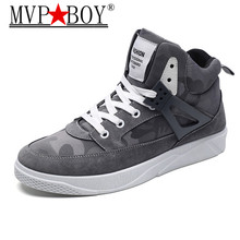 MVP BOY Autumn Winter New Men Casual Shoes  Lace-up Style Fashion Trend Microfiber Flat Breathable Rubber High Top Shoes Man new men casual boots breathable high top lace up shoes style fashion trend suede flat boots breathable rubber youth shoes