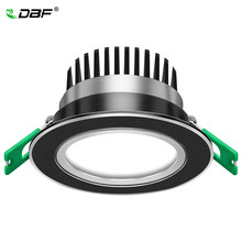 [DBF]Round Buram Hitam Len LED Recessed Downlight Lebih Cerah Epistar COB LED Plafon Spot Lamp 5W 7W W 10W 12W dengan Transformer(China)