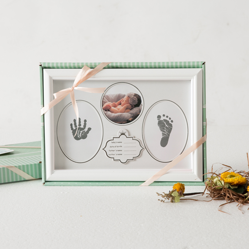 Taoqueen Baby Picture Frame Newborn Handprint Footprint Non-Toxic Ink Pad Wall Photo Folder Baby Birthday Gift Home Decor