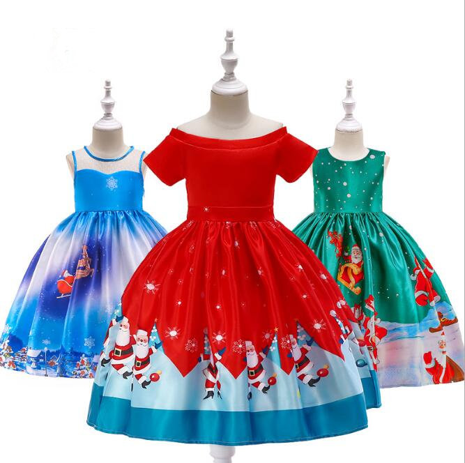 Girls Christmas Clothing Kids Snowflake Dress Girls Princess Party Dresses Children halloween christmas anniversaire dress christmas snowflake cat print mesh panel dress