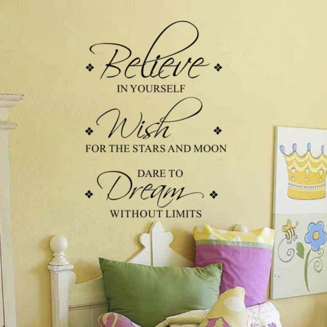 Believe Wish Dream Wall Decals Removable Inspirational Vinyl Wall - Vinyl wall decals removable