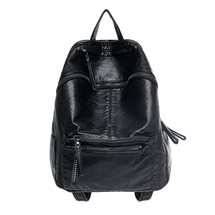 2016 Washable Leather Backpacks For Women Ladies Travel Shoulder Leather Bags Famous Brands Designer Black Preppy
