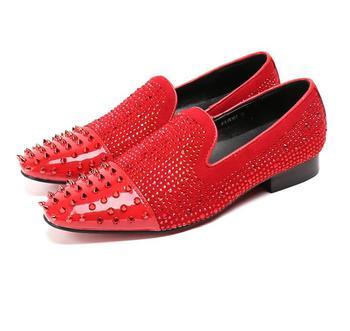 Fashion Rivets studded 2018 Man Flat Classic Men Dress Shoes Slip-on large size 46 47  Oxfords Shoes For Men black red gold