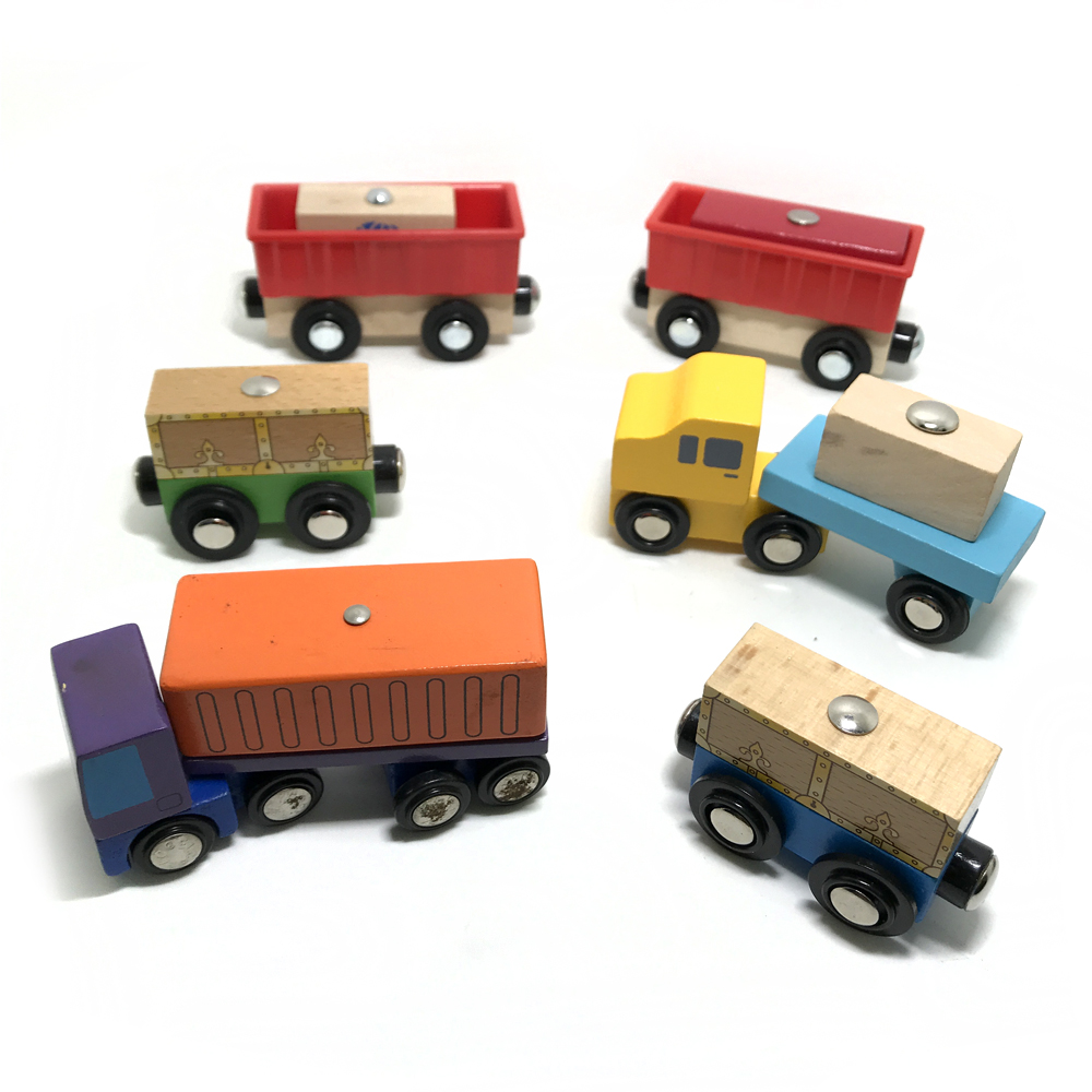 Magnetic Cargo Transporter Toy Wooden Rail Car Set Wooden