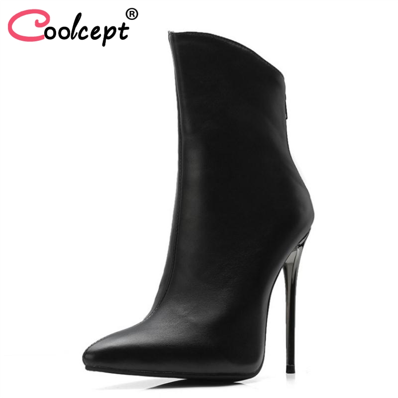 Coolcept Plus Size 34-48 Women High Heels Ankle Boots Winter Warm Fur Shoes Woman Zipper Pointed Toe Sexy Ladies Party Shoes aloeent black ankle boots women high heels pointed toe sexy winter boots woman shoes winter women boots with fur inside