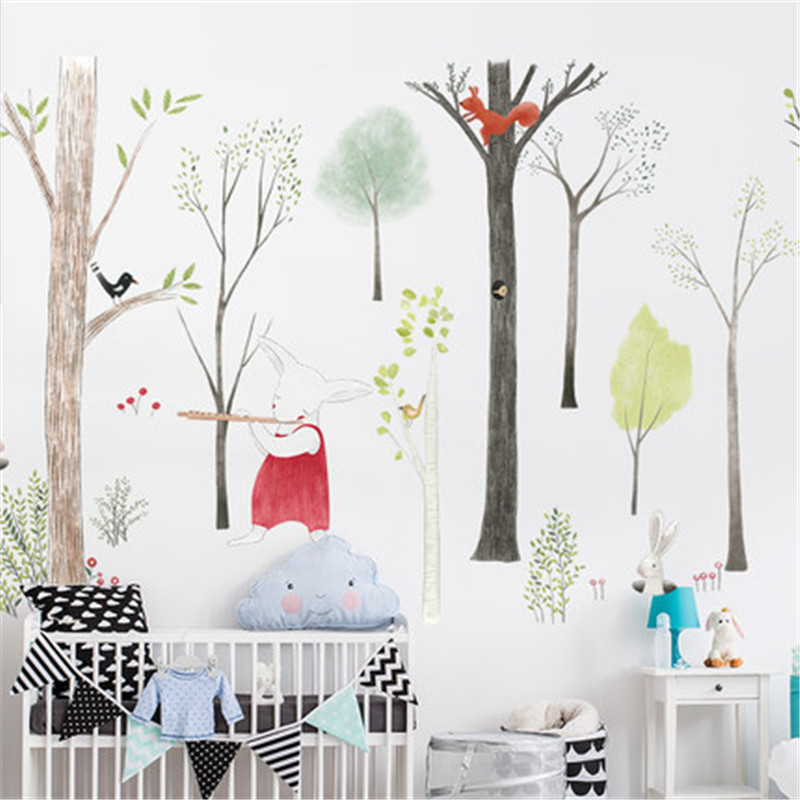 87-140cm-Large-Nordic-Style-Animal-Kids-Wall-Stickers-Cartoon-Tree-Forest-Children-Baby-Room-Wall (1)
