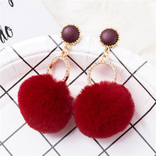 Youga 2017 New fashion earrings large pompom hairball womens Ethnic boho
