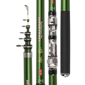 Image 1 - 2019 series 1.8 3m green carbon fiber spinning rock fishing rod closed 46cm short hard travel stick telescopic pole