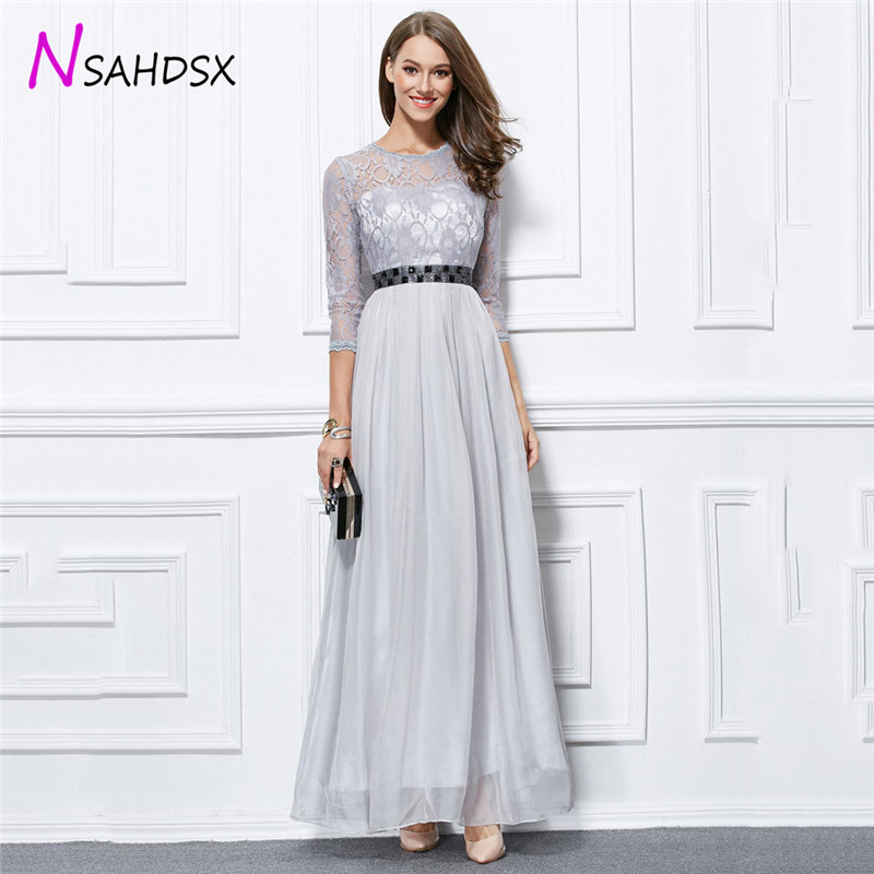 Lace Chiffon Womens Dinner Evening Parties Dress 2018 Multicolor Stitching O-Neck Half Hosts Ankle-Length Vestidos De Fiesta