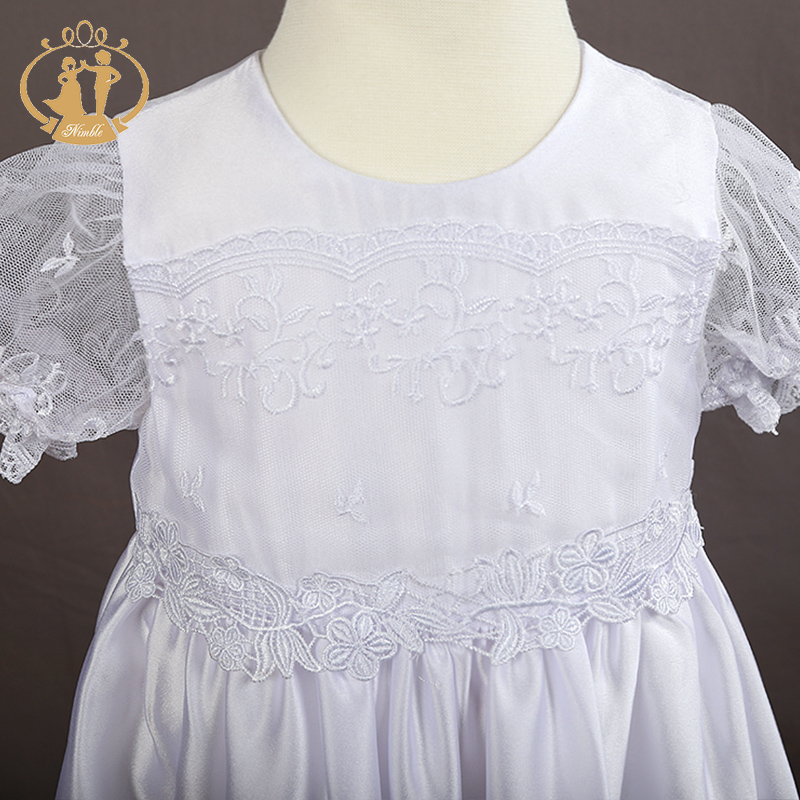 Купить с кэшбэком Nimble Satin/Lace Newborn clothes Baby Christening Gowns White Baby Girl clothes first communion clothes for girls trolls