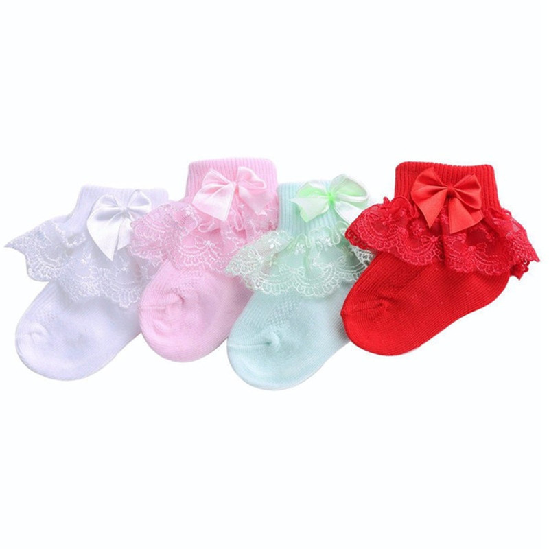 Newborn Baby Socks Solid Bow Lace Baby Socks For Girls Infant Cotton Toddler Baby Girls Socks 3M 6M 9M 12M 18M 24M
