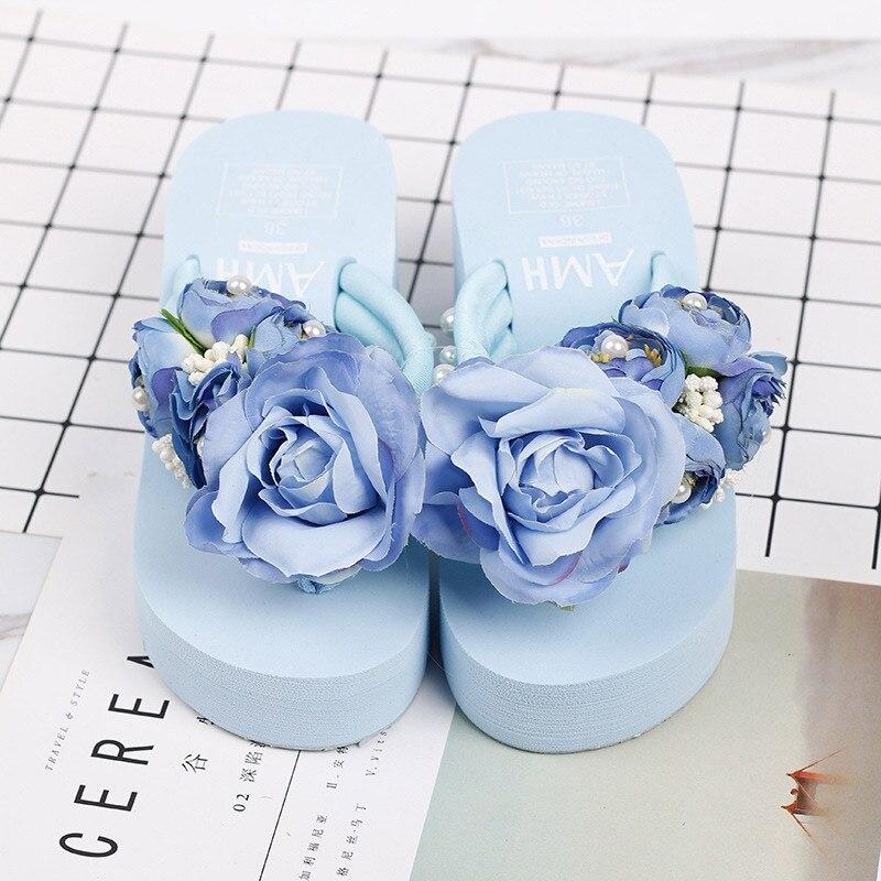 Summer Shales for Women 2018 Slope Platform Sandals Wedge Flip Flops Slope Handmade Flower Heel Thick Bottom Slippers Sandalias стоимость