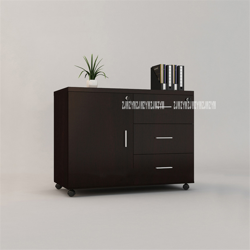 Wooden Office Cabinet File Storage Cabinet With Lock And Door Floor Stand Wheel Design Movable File Organizer Office Supplies