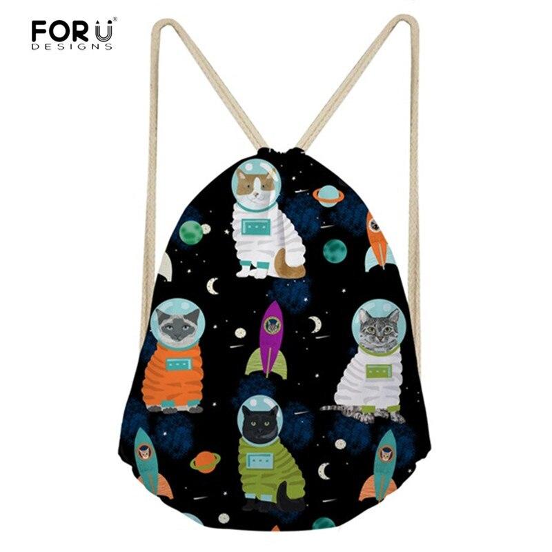 FORUDESIGNS Women Drawstring Bags Cartoon Space Cat Pattern Shoulder Backpacks For Ladies Girls Multifunction Storage Bag Sport
