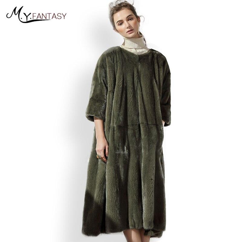 M.Y.FANSTY 2017 Fashion Slim Fur Hedging O-Neck Mink Coat Three Quarter personality Real Fur Coat  Denmark Solid Loss Mink Coats