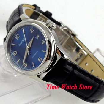 27mm Parnis lady wrist watch sapphire Royal leather bracelet steel blue dial waterproof dive pilot auto mechanical japan 1069 - DISCOUNT ITEM  30 OFF Watches