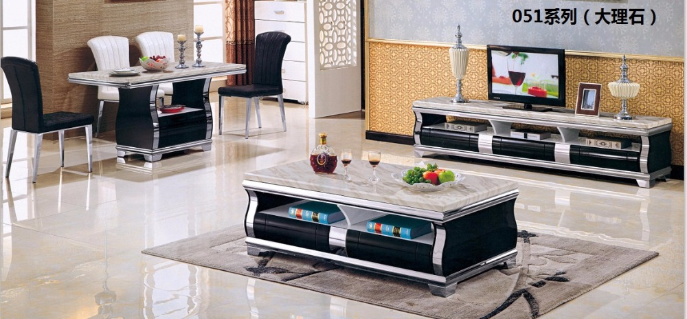 CJTV051 Minimalist Modern living room piano paint furniture marble surface TV stand cabinet coffee tea table furniture set