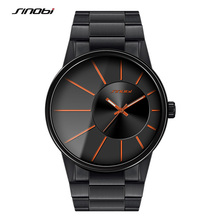 SINOBI Full Stainless Steel Men's Wrist Watches New Sports 2017 Waterproof Top Luxury Brand Male Geneva Quartz Clock Transparent