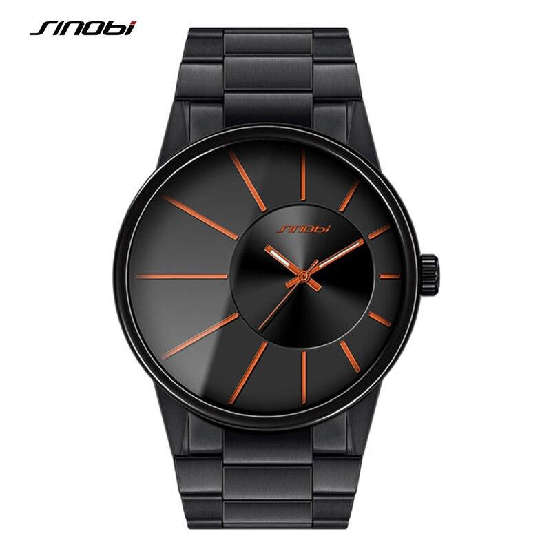 SINOBI Full Stainless Steel Men s Wrist Watches New Sports 2017 Waterproof Top Luxury Brand Male