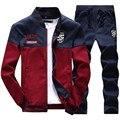 Conjuntos de Suor dos homens primavera 2017 Da Marca Mens Treino Define Jaqueta + Calças Desportivas Basculador Terno Hip Hop Camisolas Sudaderas Hombre