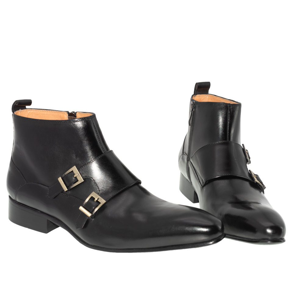 Men Dress Leather Basic Boots Black Color Fashion Delux Buckle Strap Zip Ankle Mens Pointed Toe casual ankle Dress Oxfords Shoes