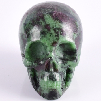 3 inch Natural Ruby Zoisite  refinement Skull figurine gemstone Carved Realistic statue healing Home Ornament art collectible