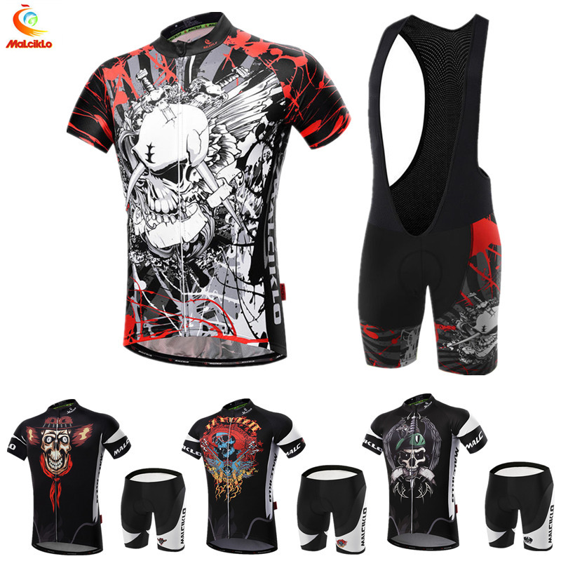 Maillot Cycling Sets with skull and crossed bones designs men s cycling jersey 2019 ropa ciclismo