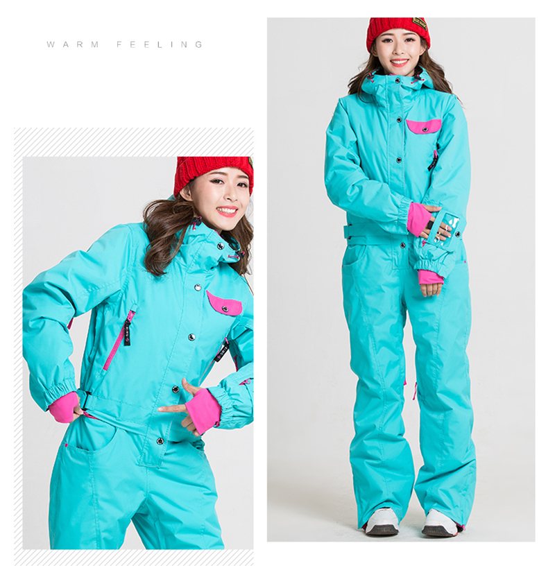 2d65be0137 Conjoined Design BLUEMAGIC Winter Ski Jacket+Pant Women Large Size  Waterproof Snowboard Suits Climbing Snow
