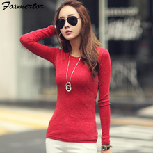 Women Fashion Shirts 2018 New Autumn Solid Women T-shirts Long Sleeve O-Neck Bright Wire Basic Casual Female Top Tees Elasticity