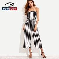 TOTRUST Sexy Off Shoulder Jumpsuit Pants 2018 New Stripe Overall Women Jumpsuit Siamese Wide Leg Long Playsuit Combinaison Femme