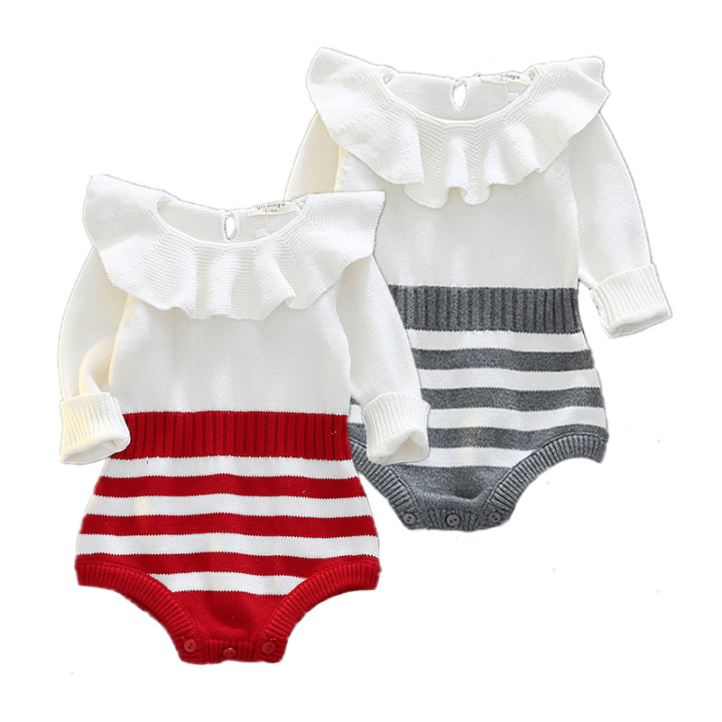 a64639d8c5dd Baby Rompers Winter Striped Newborn Sweater Knit Cotton Full tutu ...