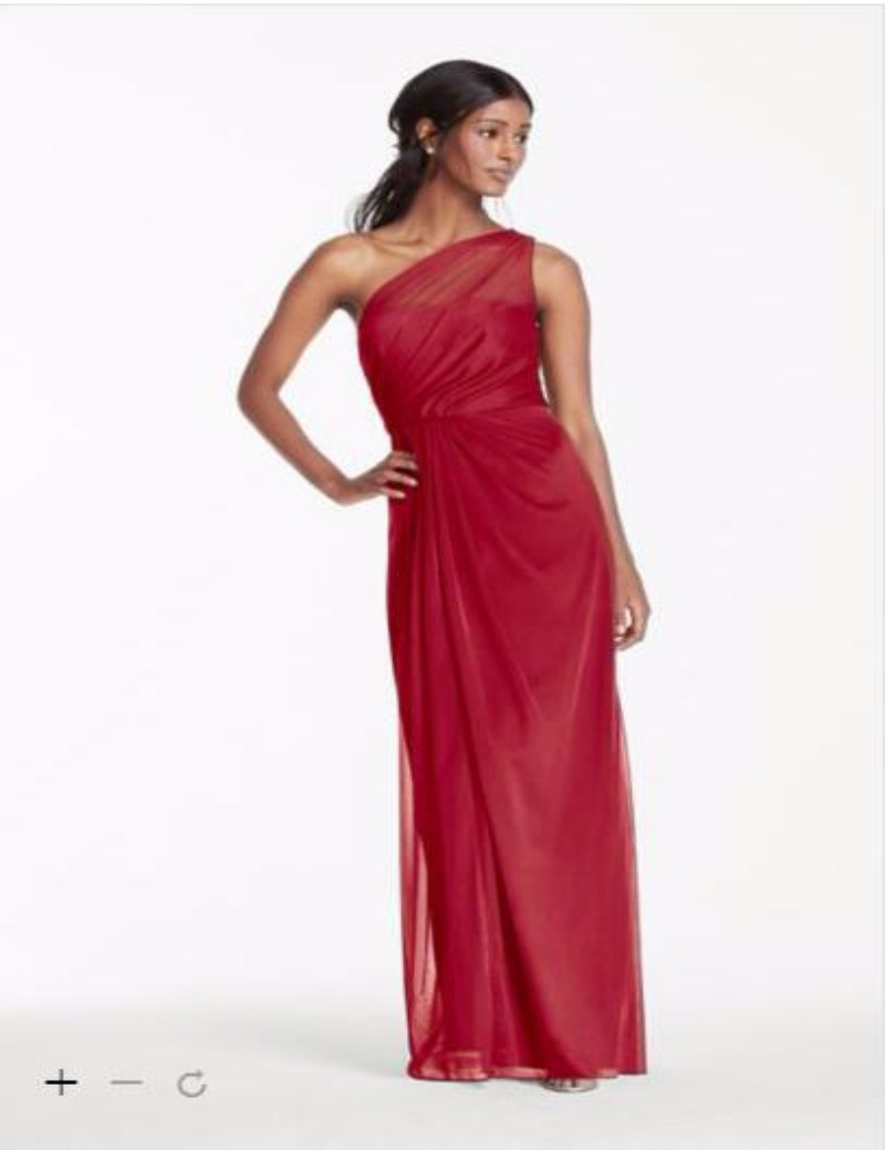 2016 Front Bridesmaid Dresses A Line Lace Bodice And Chiffon Long Strapless Dress David Bridal F15928 In From